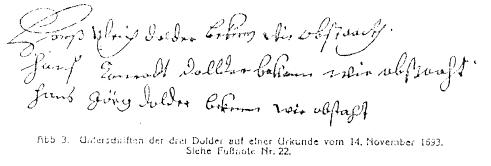 Schriftstück unterschrieben von Hans Ulrich Dolder, Hans Konrad Dolder und Hans Georg Dolder
